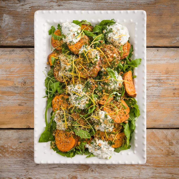 Basil2020-28-Roasted-Sweet-Potato-with-a-Lemon-Parmesan-and-Thyme-Crumb-with-a-Sour-Cream-and-Dill-Dressing