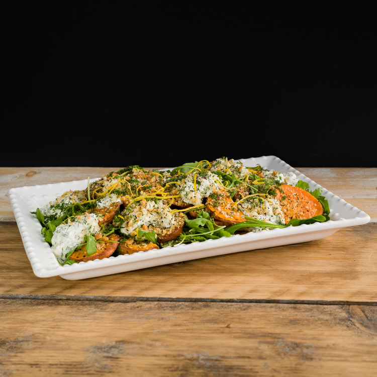 Basil2020-29-Roasted-Sweet-Potato-with-a-Lemon-Parmesan-and-Thyme-Crumb-with-a-Sour-Cream-and-Dill-Dressing