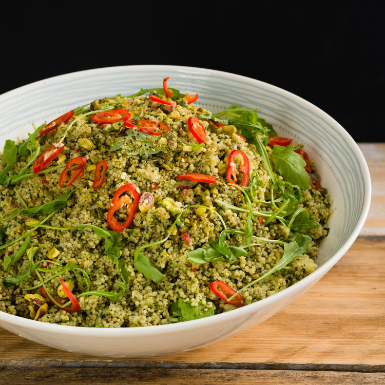 Basil2020-32-Cous-Cous-infused-with-Mint,-Coriander,-Dill,-Parsley-with-a-Sautéed-Cumin-Onions,-Pistachios-and-Rocket