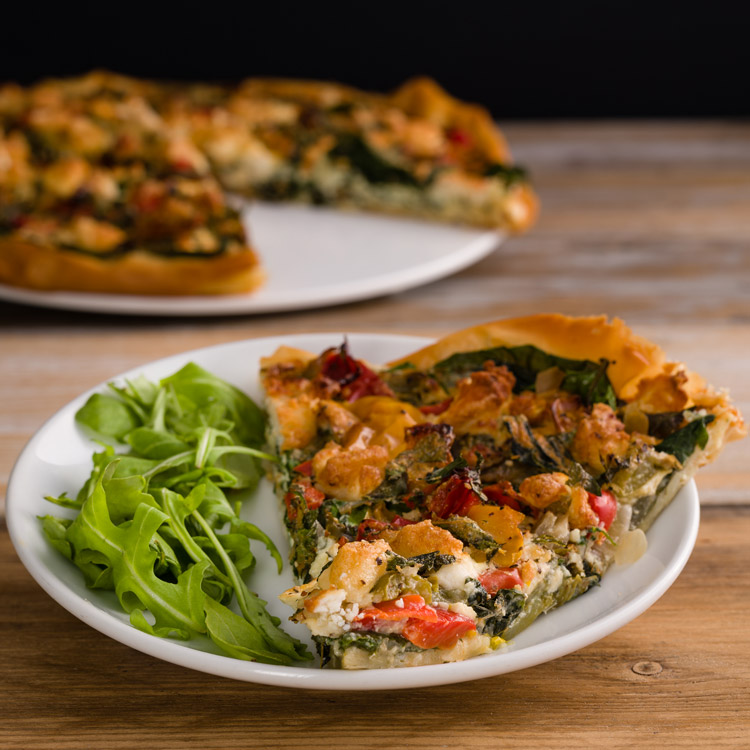 Basil2020-63-Roasted-Mixed-Pepper,-Goat_s-Cheese,-Basil-and-Mint-Filo-Tart